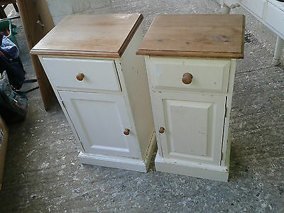Pair of Solid Pine Bedside Cabinets - Shabby Chic / Refurb