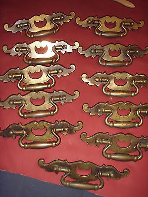Vintage Drawer Pulls---11 Heavy Brass Pulls----5 Inch Centers  --