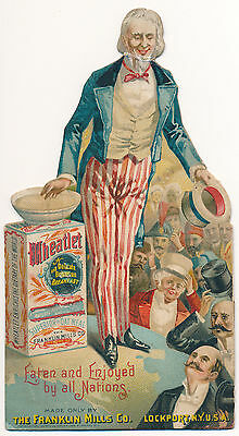 1893 Uncle Sam Wheatlet Cereal Advertising Stand-Up Display Patriotic Trade Card