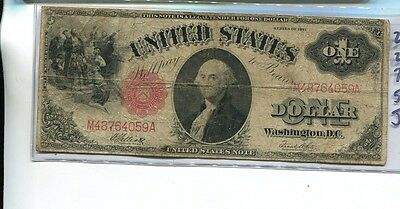 1917 $1 George Washington Large  Size Red Seal Currency Note Vg 2275J