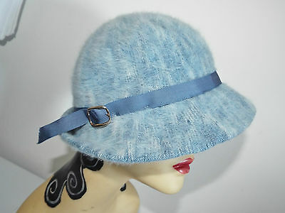 VINTAGE HAT  1950's  Dusty Blue Small Brimmed Hat with buckle design side KANGOL