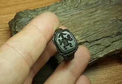 Rare Late Medieval Bronze  Seal Ring -  Wearable  #2159