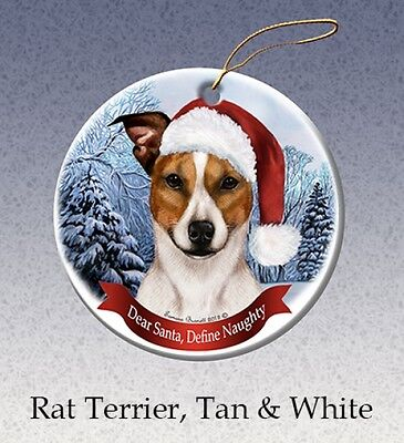 Dear Santa Define Naughty Ornament - Tan & White Rat Terrier HO227