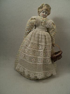 """11 1/2"""" bisque bonnet head doll nicely dressed"""