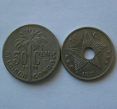 Belgian Congo a group of two coins 1911, 1925
