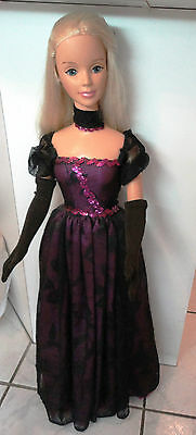 My size Barbie  Angel 36 inches tall wearing a custom gown sheer black  w/rose