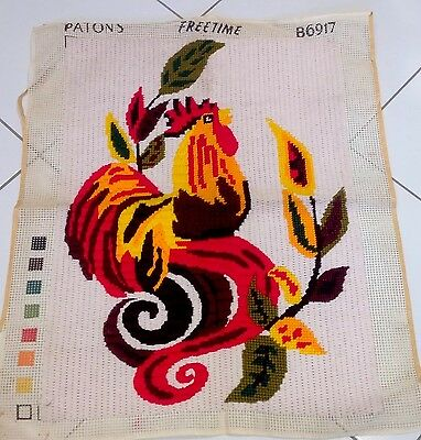 """Vintage Handcrafted Needlepoint Tapestry Large 32"""" X 23"""" Complete Retro"""