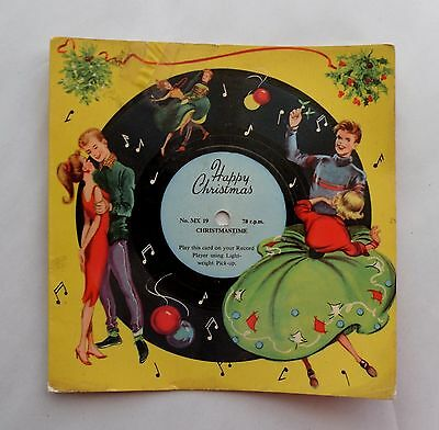 1960s Musical 78 rpm Record Card. MELODY CARDS. Christmastime. Dancing Teenagers