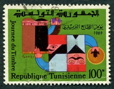TUNISIA 1969 100m multicoloured SG688 used NG Stamp Day #W2