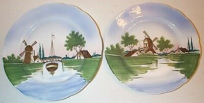 2 Hand Painted Porcelain Plates with Windmill Scenes S & C Germany