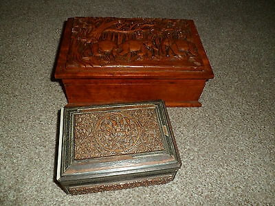 2 Old Wooden Boxes - Deep Carved - Inlaid Detail For Restoration