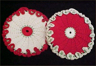 2 Vintage Antique Hand Crocheted Potholder 1940s WWII Era Christmas Green RED