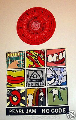 Pearl Jam 1996 Stickers Lot - Concert Tour And No Code Polaroid 10 Sticker Sheet