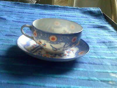 Old Japanese Egg Shell Blue And Rd Bird Decorated Cup And Saucer