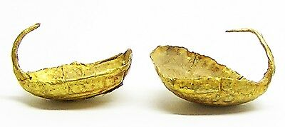 Very Early Pair of Celtic Bronze-Age Gold Basket Earrings c. 2400 - 2200 BC