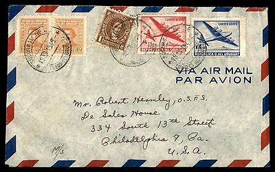 Montevideo Dec 19 1949 Cancels On Air Mail Cover To Phila Pa Usa
