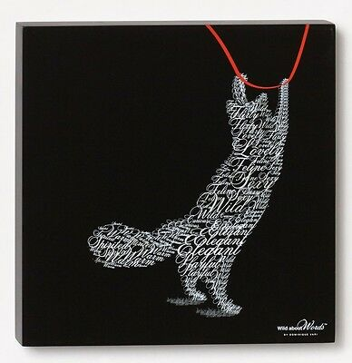 Wild About Words Playful Cat Art Decor Wall Hanging - Holiday Gift - New (7878)