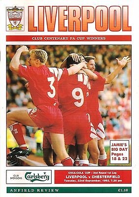 Liverpool v Chesterfield - Coca Cola Cup - 1992/93