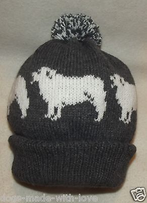 PYRENEAN MOUNTAIN dog PYRENEES NEW Knitted DARK GREY beanie bobble ADULT HAT