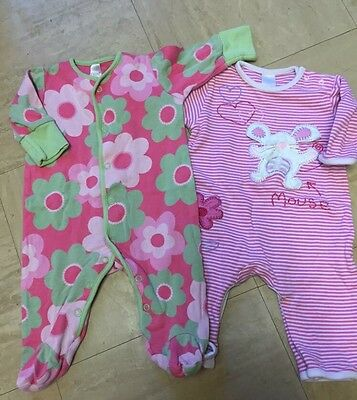 Girls Next sleep suits Baby grows  0-3months X2