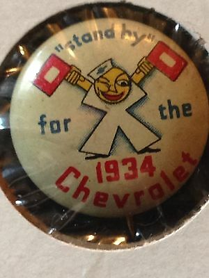 "Vintage ""standby For The 1934 Chevrolet""  Pinback"