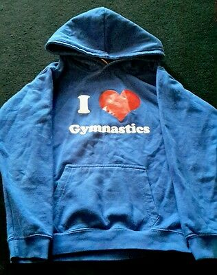 girls blue logo hoddie with i love gymnastics on front age 9/11 years