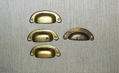 4 Metal Curved Cup Drawer Pulls / Cupboard Handles