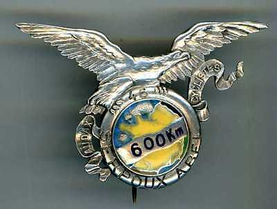 LARGE SILVER FRENCH (prob.) CYCLING BADGE FOR 600km. reads AUDAX CYCLISTES