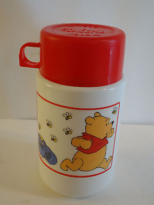 Disney WINNIE THE POOH & Hunny Bees Red White Lunchbox Thermos Aladdin