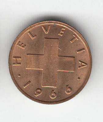 Swiss 1 Cent 1966 Copper Ef+    19G                 By Coinmountain