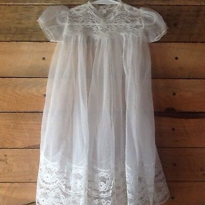 Vintage  Baby Sheer Off White Christening Baptism Gown Dress Lace -