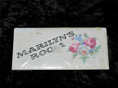 Vintage Purbeck Ceramics Door Name Plate MARILYN with Pink & White Roses New