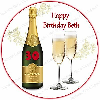 Personalised Champagne Fizzy Wine Edible Icing Birthday Anniversary Cake Topper