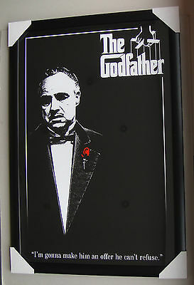 The Godfather Framed Poster RED ROSE Black timber with glass ready to hang