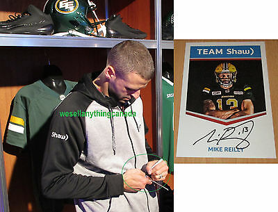 Mike Reilly Autographed Limited Edition Edmonton Eskimos Card with PROOF CFL
