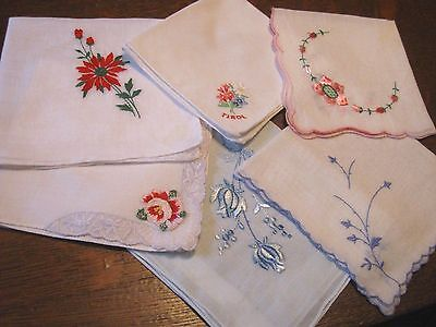 Pretty Lot of 6! Antique/Vintage EMBROIDERED Hankies HANDKERCHIEF-LACE APPLIQUED
