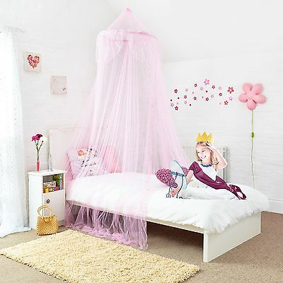 Princess Pink Bed Canopy with Silver Sequins Easy To Hang Ideal Gift