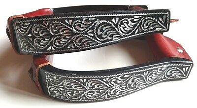 Western Stirrups - Black Aluminum - Engraved Silver Design - Very Classy