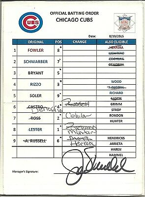 JOE MADDON SIGNED 6 x 8 LINEUP CARD 8/19/2015 Chicago Cubs AUTO Autograph