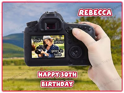 Personalised Photography Hobby Camera + Own Photo Edible Icing Cake Topper
