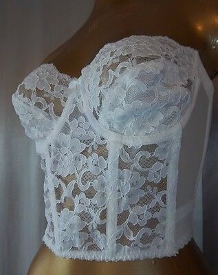Strapless & Backless SHEER WHITE LACE Vintage 1980s BUSTIER BRA -sz 34 D