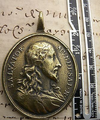 Jesus Savior & Mary Immaculate Salvator Mundi Salvation Medieval Bronze Medal