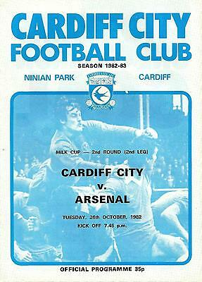 Cardiff v Arsenal - Milk Cup - 1982/83