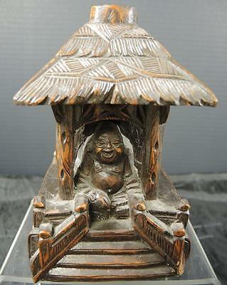 Antique Chinese Carved Wood Lamp Base * Buddha Seated In Temple