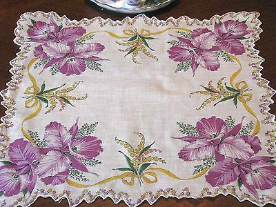 Antique/Vntg PURPLE MAUVE YELLOW LILY OF VALLEY PRINT COTTON Hankie Handkerchief