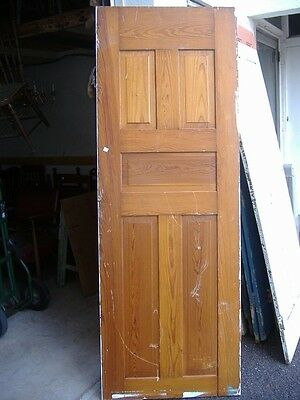 Five Panel Door White Painted Medium Wood Door Vintage Antique Architectural 46A