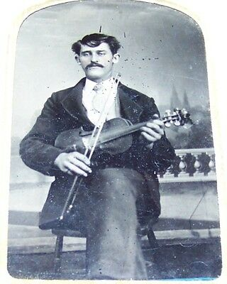 1871 Antique Victorian Man Playing Violin Fiddle Occupational Tintype Photo Fry