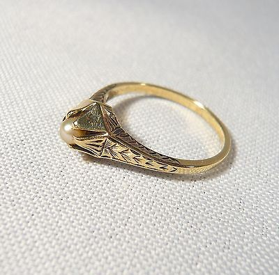 Antique ENGRAVED Solid 14K Gold & Pearl RING Size 6 1/4  ART DECO 2.73 g