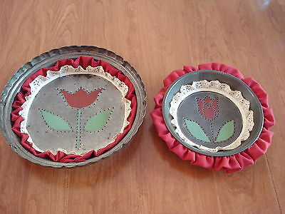 Two Vintage Punched Toleware Floral Lace & Fabric Pie Tins Farm Folk Art