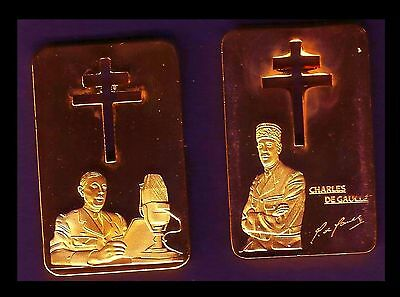 ●● Gold Plated Bar ● France ● Wwii : Charles De Gaulle ●●